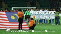 Timnas Malaysia U-22 jelang laga terakhir penyisihan Grup A melawan Laos, Rabu (23/8/2017). (Bola.com/Dok. FAM)