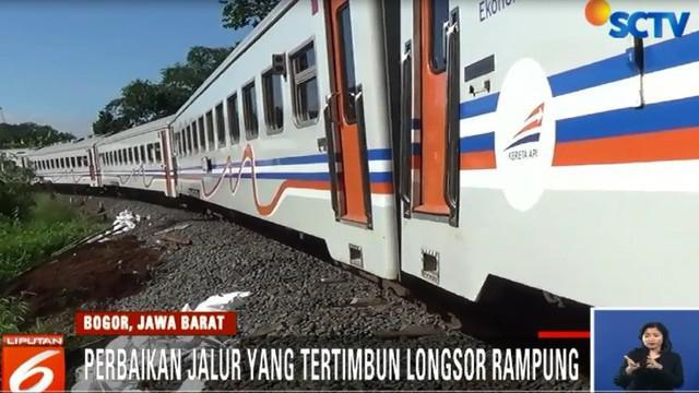 Perbaikan di jalur yang rusak akibat tertimbun longsor tepatnya di Kampung Bantar Panjang, Desa Cibalung, Kecamatan Cijeruk, telah rampung.