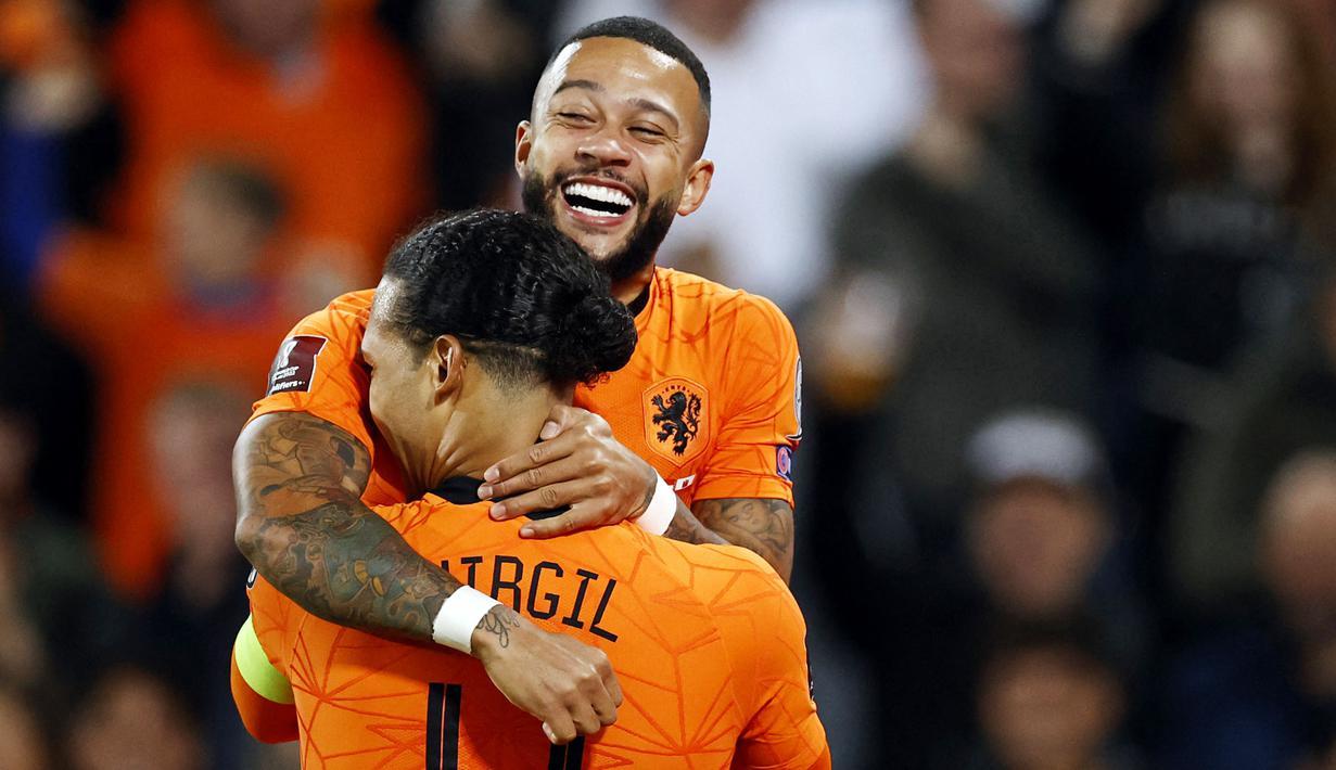 Timnas Belanda berpesta gol saat menjamu Gibraltar dalam lanjutan laga kualifikasi Piala Dunia 2022. (AFP/Maurice Van Steen)
