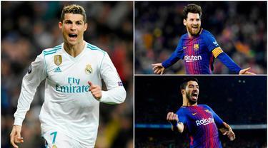 Berikut ini top scorer sementara La Liga musim 2017/2018 hingga pekan ke-25. Lionel Messi masih teratas dengan torehan 22 gol. (Kolase foto-foto AP dan AFP)