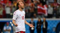 Christian Eriksen merupakan gelandang andalan Denmark yang ketajamannya terbukti dari jumlah golnya. Ia mengoleksi 36 gol dari 109 caps penampilan bersama Denmark. Namun dari jumlah gol yang ia koleksi tak ada satupun yang berasal dari ajang Euro ini. (Foto: AFP/Alexander Nemenov)