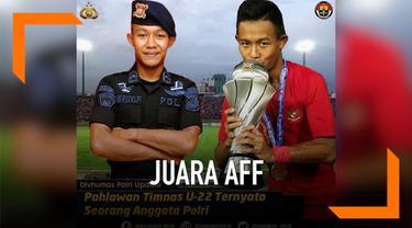 Timnas Indonesia U-22 raih juara Piala AFF U-22 setelah kandaskan tim Thailand di laga final. Salah satu pencetak gol ternyata anggota polisi. Siapa dia?