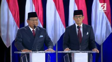 Pasangan Prabowo Subianto-Sandiaga Uno saat Debat Kelima Pilpres 2019. (Liputan6.com)