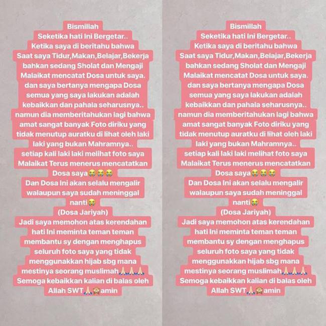 Pengakuan keputusan berhijab oleh Kartika Putri di akun instagramnya/copyright  instagram.com/kartikaputriworld