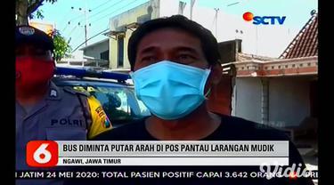 Sebanyak 26 orang pemudik dari Lampung diturunkan oleh awak bus di jalur exit tol Ngawi, Jawa Timur. Mereka diturunkan di jalan, karena bus menghindari penyekatan oleh petugas di pintu tol. Mereka kemudian diamankan dan didata oleh Dinkes Kabupaten N...