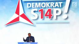Ketua Umum Partai Demokrat (PD) Susilo Bambang yudhoyono (SBY) memberi sambutan pada Rapimnas Partai Demokrat  di Sentul Internasional Convention Center (SICc), Bogor, Jawa Barat, Sabtu (10/3).   (Liputan6.com/Angga yuniar)