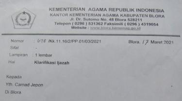 Salah Satu Surat Resmi Kemenag yang Dipakai Pijakan Untuk Menggagalkan Santri di Blora Jadi Perangkat Desa. (Liputan6.com/Ahmad Adirin)