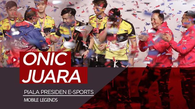 Berita video momen tim Onic meraih gelar juara Piala Presiden E-Sports 2019.