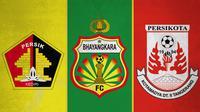 Ilustrasi - Logo Persik Kediri, Bhayangkara FC, Persikota Tangerang (Bola.com/Adreanus Titus)