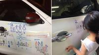 Seorang ayah di Taiwan berbaik hati biarkan putrinya mencorat-coret mobil. Credit: Viral4real.com