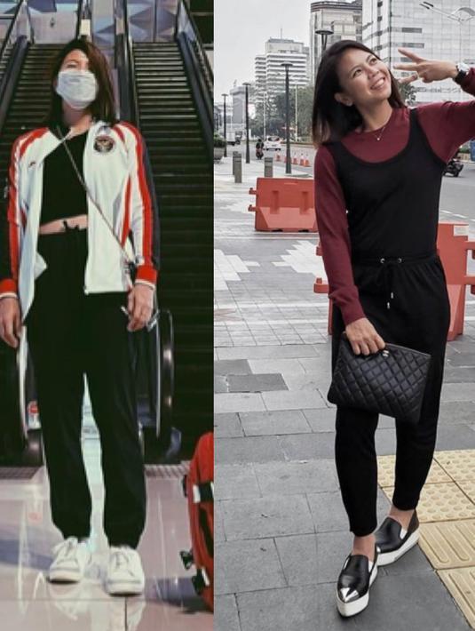 Greysia Polli merupakan andalan Badminton ganda putri Indonesia. Saat berangkat ke Tokyo ia mengenakan jaket TimNas dipadukan dengan tank top hitam dan pants. Sedangkan di luar lapangan ia mengenakan jamsuit hitam dengan inner tshirt lengan panjang maroon. Dok. Instagram greyspolii