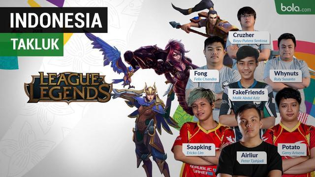 Tim League of Legend (LoL) Indonesia menelan kekalahan dari tim Arab Saudi pada Senin (27/8/2018)