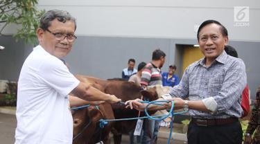 Direktur SCM Imam Sudjarwo menyerahkan 1 ekor sapi ke perwakilan camat Duri Kepa saat penyerahan hewan kurban 1439 H di Studio 5 Indosiar, Jakarta, Kamis (16/8). SCM membagikan hewan kurban sebanyak 5 sapi dan 45 kambing. (Liputan6.com/Herman Zakharia)