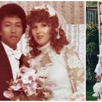 Nadine Chandrawinata memerlihatkan foto pernikahan ibundanya. Nadine mengenakan gaun putih yang dikenakan ibundanya saat pernikahannya (Instagram/@nadinelist)