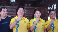 Liliyana Natsir (kedua dari kanan) ikut meramaikan Kudus Relay Marathon 2019 (Liputan6.com/Achmad Yani Yustiawan)