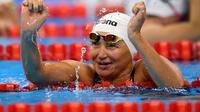 Atlet asal Kazakhstan Zulfiya Gabidullina merebut medali emas Asian Para Games 2018. (AFP/Bob Martins)