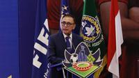 Ketua PSSI, Mochamad Iriawan memberikan kata sambutan dalam Kongres Tahunan PSSI 2021 yang mengusung dua agenda utama yakni pelaksanaan program tahun 2020 dan rencana agenda 2021. (Foto: Bola.com/M Iqbal Ichsan)