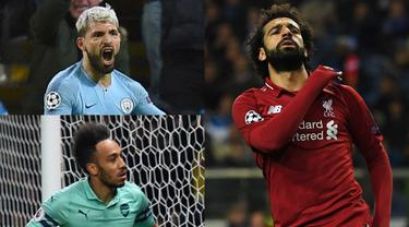 Persaingan menjadi jawara top scorer Premier League semakin seru. Sergio Aguero, Mohamed Salah dan Aubameyang bersaing ketat menjadi pemuncak top scorer Premier League musim 2018/19. (Kolase Foto AFP)
