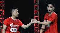 Ganda putra Daihatsu Astec, Leo Rolly Carnando/Daniel Marthin, yang tampil di ajang Djarum Superliga Badminton 2019. (PBSI)