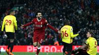 Winger Liverpool, Mohamed Salah, merayakan gol yang dicetak ke gawang Watford dalam laga lanjutan Premier League 2017-2018 di Stadion Anfield, Minggu (18/3/2018) dini hari WIB. (Twitter Liverpool)