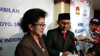 Menkes Nila usai pelantikan Hasto Wardoyo sebagai Kepala BKKBN. (Foto: Liputan6.com/Giovani Dio)