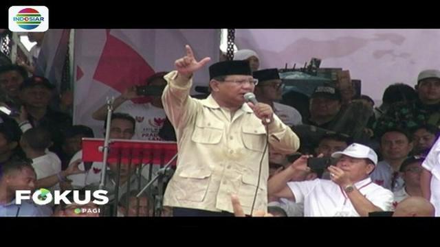 Kampanye di Palembang, Prabowo Subianto berjanji tuntaskan korupsi dan sembako murah.