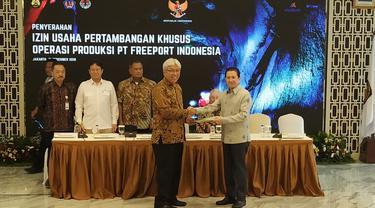 Pemerintah telah menerbitkan Izin Usaha Pertambangan Khusus (IUPK) PT Freeport Indonesia, setelah disepakatinya poin-poin negosiasi yang panjang. (Wicak/Liputan6.com)