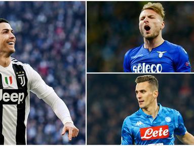 Striker Juventus, Cristiano Ronaldo, berhasil memuncaki daftar pencetak gol terbanyak sementara dengan torehan 14 gol. Berikut daftar top scorer sementara Serie A pekan ke 19. (Foto Kolase AP dan AFP)