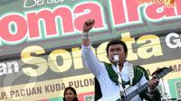 Capres dari PKB, Rhoma Irama mengajak para kader dan simpatisan untuk terus menjaga persatuan demi memenangkan PKB dalam Pemilu 2014 (Liputan6.com/Helmi Fithriansyah)