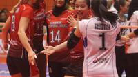 Putri Jakarta Pertamina Energi tampil sebagai juara putaran kedua Proliga 2019 usai mengalahkan BNI 46 3-1 pada seri terakhir di GOR Sritex Arena, Solo, Minggu (27/1/2019). (foto: PBVSI)