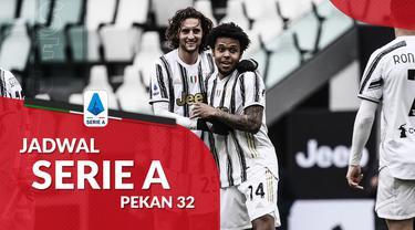 Berita motion grafis jadwal Liga Italia 2020/2021 pekan ke-32 dimana Juventus hadapi Parma di Allinz Stadium, Turin.