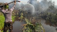 Polisi memadamkan kebakaran lahan untuk mencegah bencana kabut asap. (Liputan6.com/M Syukur)