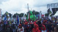 Bendera PPP berkibar ditengah deklarasi Pilwalkot Palembang Harnojoyo-Finda