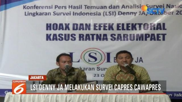 LSI Denny JA rilis dampak Hoax Ratna Sarumpaet terhadap elektabilitas dua pasang capres-cawapres.