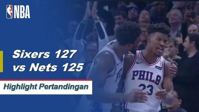 Spencer Dinwiddie dan D'Angelo Russell menggabungkan untuk 69 poin tetapi 34 poin Jimmy Butler dan tiga-pointer yang memenangkan permainan memberi Philadelphia keunggulan tipis atas Brooklyn, 127 - 125.