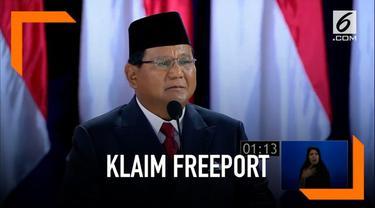 Pada penutupan debat capres, Prabowo sempat mempertanyakan klaim Freeport yang dikuasai Indonesia.
