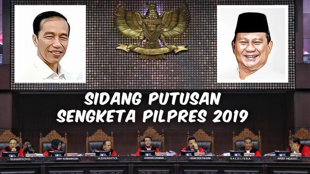 Mahkamah Konstitusi (MK) menggelar sidang putusan sengketa hasil Pilpres 2019 pada Kamis 27 Juni.