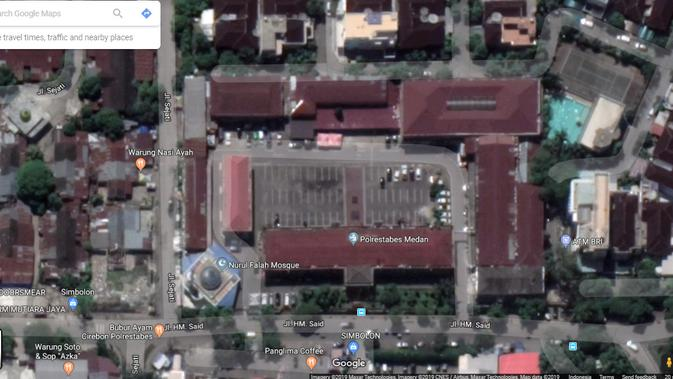 Tampilan Aerial Mapolrestabes Medan (1). Kredit: Google Maps