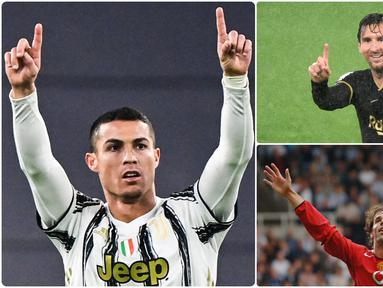 Cristiano Ronaldo mencatatkan rekor menjadi pencetak gol terbanyak di kompetisi Liga Champions sepanjang masa. Saat ini, jumlah gol Cristiano Ronaldo jauh melewati bintang Barcelona, Lionel Messi. Berikut 6 pencetak gol terbanyak Liga Champions sepanjang masa. (kolase foto AFP)