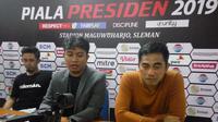 Pelatih PSS Sleman, Seto Nurdiyantoro, berikan keterangan pada media usai laga di Piala Presiden 2019 (Switzy Sabandar)