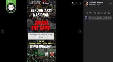 Gambar Tangkapan Layar Poster Hoaks Unjuk Rasa Jokowi End Game (sumber: Facebook).