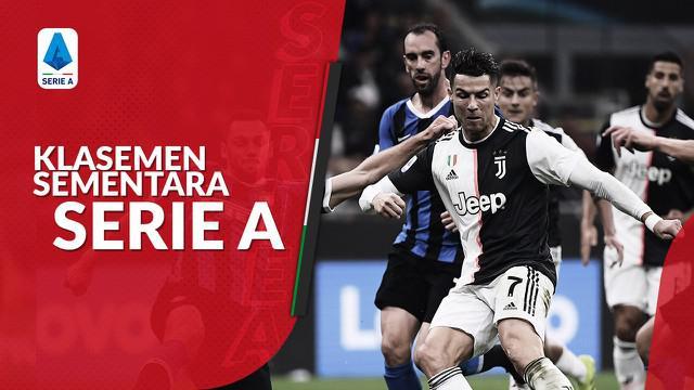Berita motion grafis klasemen Serie A sebelum ditunda akibat virus corona. Juventus memimpin puncak klasemen unggul 1 poin dari Lazio.