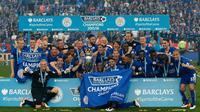 Para pemain Leicester City merayakan gelar juara Premier League 2015-2016. (AFP/Adrian Dennis)