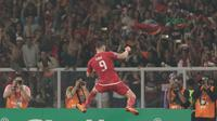 Ekspresi Pemain Persija Jakarta, Marko Simic usai membobol gawang Johor Darul Ta'zim pada laga Piala AFC 2018 di Stadion Utama Gelora Bung Karno, Jakarta, Selasa (10/4/2018). Persija Jakarta menang 4-0.  (Bola.com/Nick Hanoatubun)