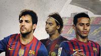 Mantan pemain Barcelona: Cesc Fabregas, Zlatan Ibrahimovich dan Thiago Alcantara. (Bola.com/Dody Iryawan)