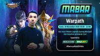 Main bareng Mobile Legends bersama Warpath, Senin (30/11/2020) pukul 19.00 WIB dapat disaksikan melalui platform streaming Vidio, laman Bola.com, dan Bola.net. (Sumber: Vidio)