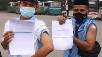 Pemberian vaksinasi Covid-19 di Kota Tangerang, terus berjalan. Hari ini 1.000 sopir transportasi umum menerima vaksin tersebut, Kamis (4/3/2021).