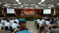 Sejumlah menteri dan pejabat berkumpul di Mabes Polri, Jakarta. (Liputan6.com/Nafiysul Qodar)