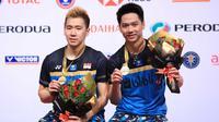 Kevin Sanjaya Sukamuljo/Marcus Fernaldi Gideon menjuarai Malaysia Masters 2019 di Axiata Arena, Kuala Lumpur, Minggu (20/1/2019). (PBSI)