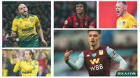5 Pemain di Premier League: Teemu Pukki, Todd Cantwell, Jack Grealish, Aaron Ramsdale, Nathan Ake (Bola.com/Adreanus Titus)